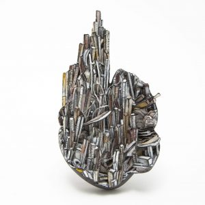 Brooch, 2020, paper, paint, silver, wood, graphite, stainless steel 117 x 65 x 27mm
