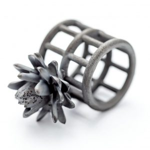 Black Flowers. Ring, detail, 2019, silver, H 2.5 cm